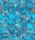 pic of hexagon  - Hexagonal blue grungy metal tiles as a seamless background - JPG