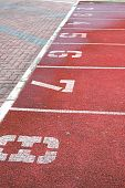 picture of 8-track  - Numbered running track at the stadium. For sports and exercise concepts.