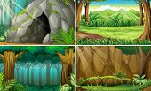 stock photo of jungle flowers  - Illustration of four scenes of forests and a cave - JPG