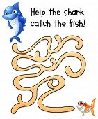 pic of game-fish  - Illustration of a puzzle game with shark and fish - JPG