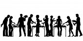 stock photo of buffet  - Illustrated silhouettes of people enjoying a buffet - JPG