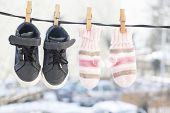 foto of clotheslines  - Baby clothes - JPG