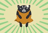 image of badger  - An adorable roundish cartoony fuzzy badger in a dress and with a daisy behind it - JPG