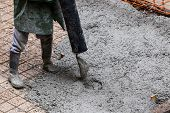 pic of street-rod  - Pouring cement during sidewalk upgrade at the street - JPG