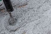 picture of street-rod  - Pouring cement during sidewalk upgrade at the street - JPG
