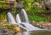 foto of cataracts  - Cataract Falls a large Indiana waterfall is photographed here in the summer with a diminished yet still beautiful flow - JPG