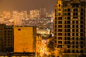 foto of windy  - Baku skyline in the windy night Azerbaijan - JPG