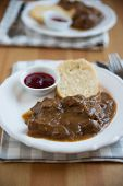 foto of deer meat  - deer meat in wine sauce and home made dumplings - JPG