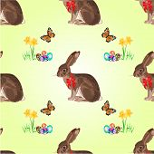 stock photo of hare  - Seamless texture easter hare with butterflies and daffodil and easter eggs vector illustration - JPG