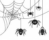 stock photo of cobweb  - Spiders weave a cobwebs - JPG