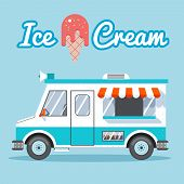picture of food truck  - Ice cream truck for sale on a blue background - JPG