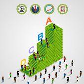 foto of pyramid  - Isometric Pyramid money with people - JPG