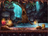 image of cave  - Illustration of the cave with a waterfall and a magic tree and barrel of gold - JPG