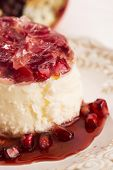 picture of panna  - coconut panna cotta dessert with fresh pomegranate - JPG