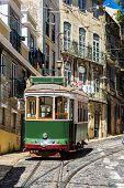stock photo of tram  - Vintage tram in the city center of Lisbon - JPG