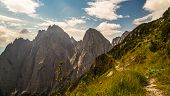 stock photo of italian alps  - a sign on a rock in the italian alps - JPG