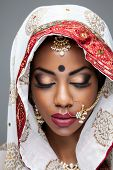 picture of indian  - Exotic Indian bride dressed up for wedding ceremony - JPG
