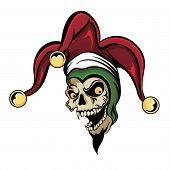 foto of jestering  - Vector fantasy illustration of a laughing angry joker vampire zombie skull wearing a clown jester - JPG
