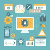pic of internet icon  - Vector internet and information security concept in flat style  - JPG