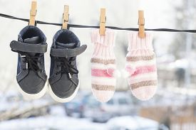 image of clotheslines  - Baby clothes - JPG