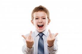 foto of disapproval  - Little smiling young businessman child boy hand gesturing middle finger obscene sign for negative attitude white isolated - JPG