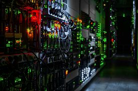 foto of cluster  - web network business rack center room enterprise hardware servers mounted computers cluster virtual data - JPG