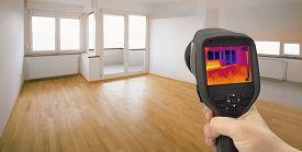 stock photo of thermal  - Thermal Image of Heat Leak thru Windows  - JPG