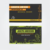 image of steampunk  - Steampunk style business cards design - JPG