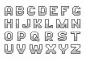 stock photo of pixel  - Pixel alphabet letters for games and design - JPG