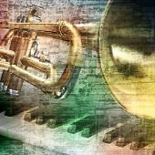picture of trumpets  - abstract gray grunge vintage music background with piano and trumpet - JPG