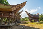 pic of traditional  - Row of traditional houses in a tipical traditional village of Tana Toraja South Sulawesi Indonesia. Wide angle view from below in a bright day of summer. Outstanding local architecture boat shaped rooftop and traditional decoration.