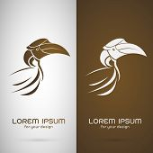 pic of webbed feet white  - Vector image of an hornbill design on white background and brown background Logo Symbol - JPG