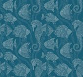 foto of seahorse  - Vector Ornate Sea Seamless Pattern with fishes - JPG