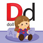 stock photo of letter d  - a vector of letter d for the object doll - JPG