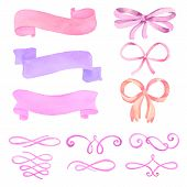 stock photo of ribbon bow  - Set of watercolor elements - JPG