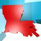 foto of usa map  - Louisiana map on blue USA map image with hi - JPG