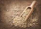 image of spoon  - Oat seeds in wooden spoons - JPG