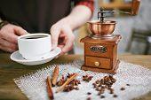 picture of cinnamon sticks  - Wooden coffee grinder - JPG