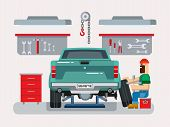 picture of garage  - Auto mechanic fixing car in auto repair garage flat vector illustration - JPG