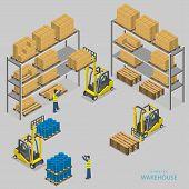 foto of warehouse  - Warehouse loading isometric vector illustration - JPG