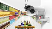 pic of supermarket  - Security surveillance camera with supermarket interior as background - JPG