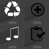 stock photo of tasks  - Recycling Plus sign Note sign Task completed icon - JPG