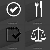 pic of tasks  - Tick sign Fork and knife Task completed icon Scales - JPG