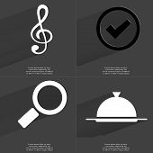 stock photo of clefs  - Clef Tick sign Magnifying glass Tray - JPG