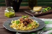 stock photo of celery  - Fettuccine with Bolognese sauce  - JPG