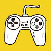 stock photo of controller  - Game Controller Doodle - JPG