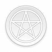 picture of pentacle  - Pentagram button on white background - JPG