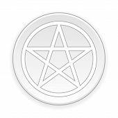 pic of pentagram  - Pentagram button on white background - JPG