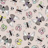 picture of creepy  - Seamless vintage botanical garden insects butterfly and creepy bugs illustration hand drawn background pattern in vector - JPG