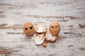 foto of bodyguard  - funny bodyguard eggs and shell of a broken egg - JPG